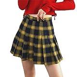 Damen Plaid A-Linie Rock Gothic High Waist Plissee Flare Short Mini Skater Rock