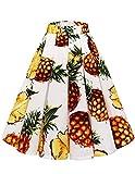 bridesmay Damen A Linie Knielang Rock Sommer Midi Röcke Plissee Skirt Swing Rockabilly Kleid mit Tasche