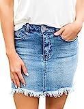 Roskiky Damen Jeansrock Ripped Raw Saum Minirock mit Taschen im Used-Look