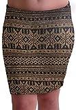 EyeCatchClothing - Damen Warmer Strick Stretch Rock im Azteken Design