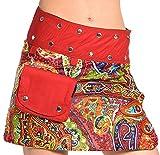 Damen Minirock aus Indien mit Tasche und 2 Mustern zum Wenden, Sommerrock kurz, Wenderock, Wickelrock Goa Gypsy Hüftschmeichler Rock - mit 18 Nieten Druckknöpfen, flexibel - Diverse Designs
